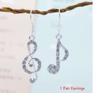 Fashion Crystal Rhinestone Music Note Earrings